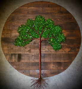 "20"" Round Pallet Wood, Glass Tree of Life Wall Art (Brown)"