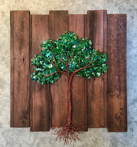 21' x 21' Square Brown Pallet Wood Tree of Life