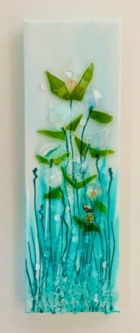 "4"" x 12"" Teal Glass Flower Canvas"