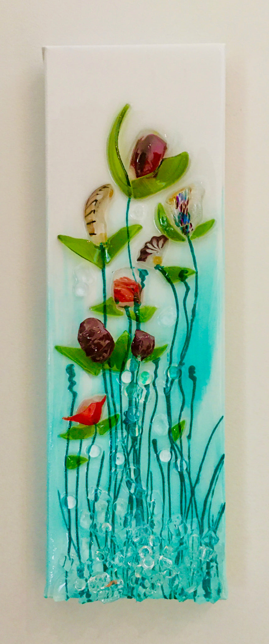 "4"" x 12"" Green Glass Flower Canvas"