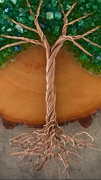 "15"" Round Wood Cookie Tree of Life"
