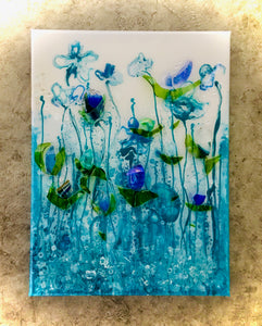 "12"" x 16"" Blue Glass Flower Canvas"