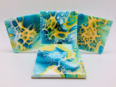 Ceramic Coaster Set Blue Burst
