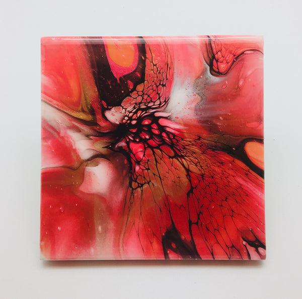 Ceramic Coaster Set Red Flames