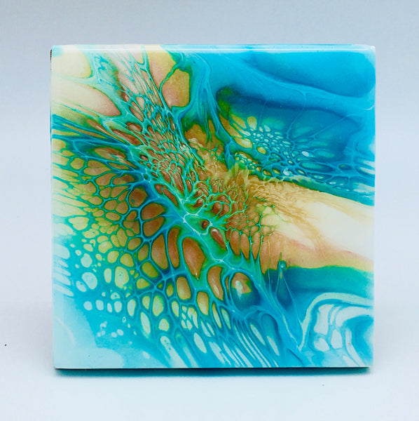 Ceramic Coaster Set Teal Sunset