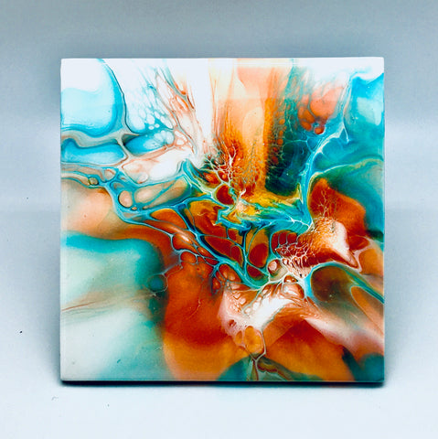 Ceramic Trivet Teal Sunset