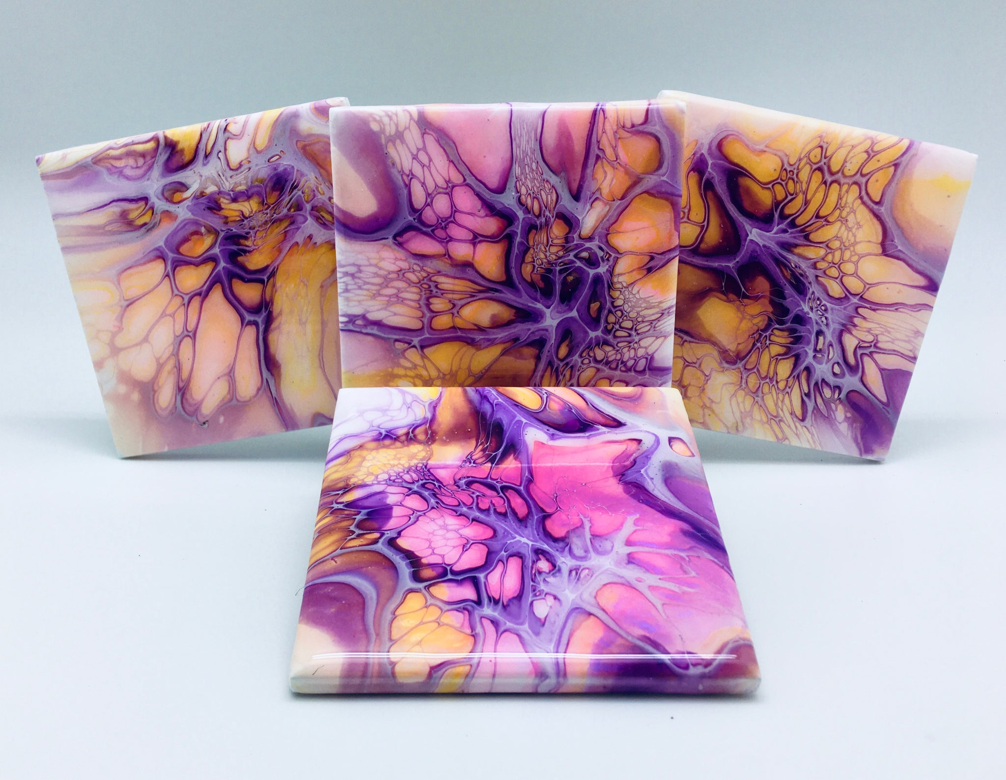 Ceramic Coaster Set Purple Explosion