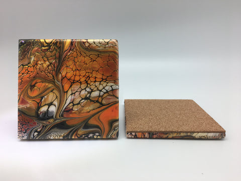 Ceramic Coaster Set Fall Swirl