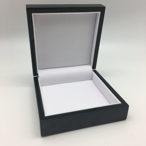 "5 1/2"" x 5 1/2"" Keepsake Jewelry Box in Black Gloss Finish"