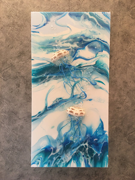"Jellyfish 12"" x 24"" Glass Tentacles"