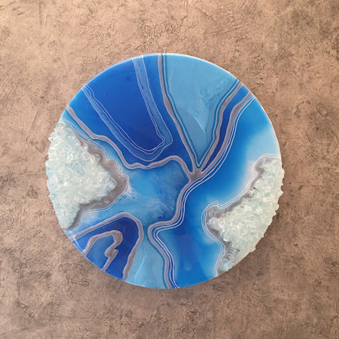 "Geode ArtWork Blue Tones 12"" Round"