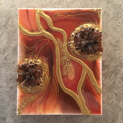"Geode Art Rust 8"" x 10"" with Smoky Quartz Crystals"