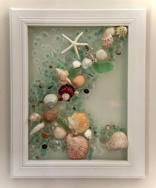 "Glass 12""x15"" Beach Glass Frame"