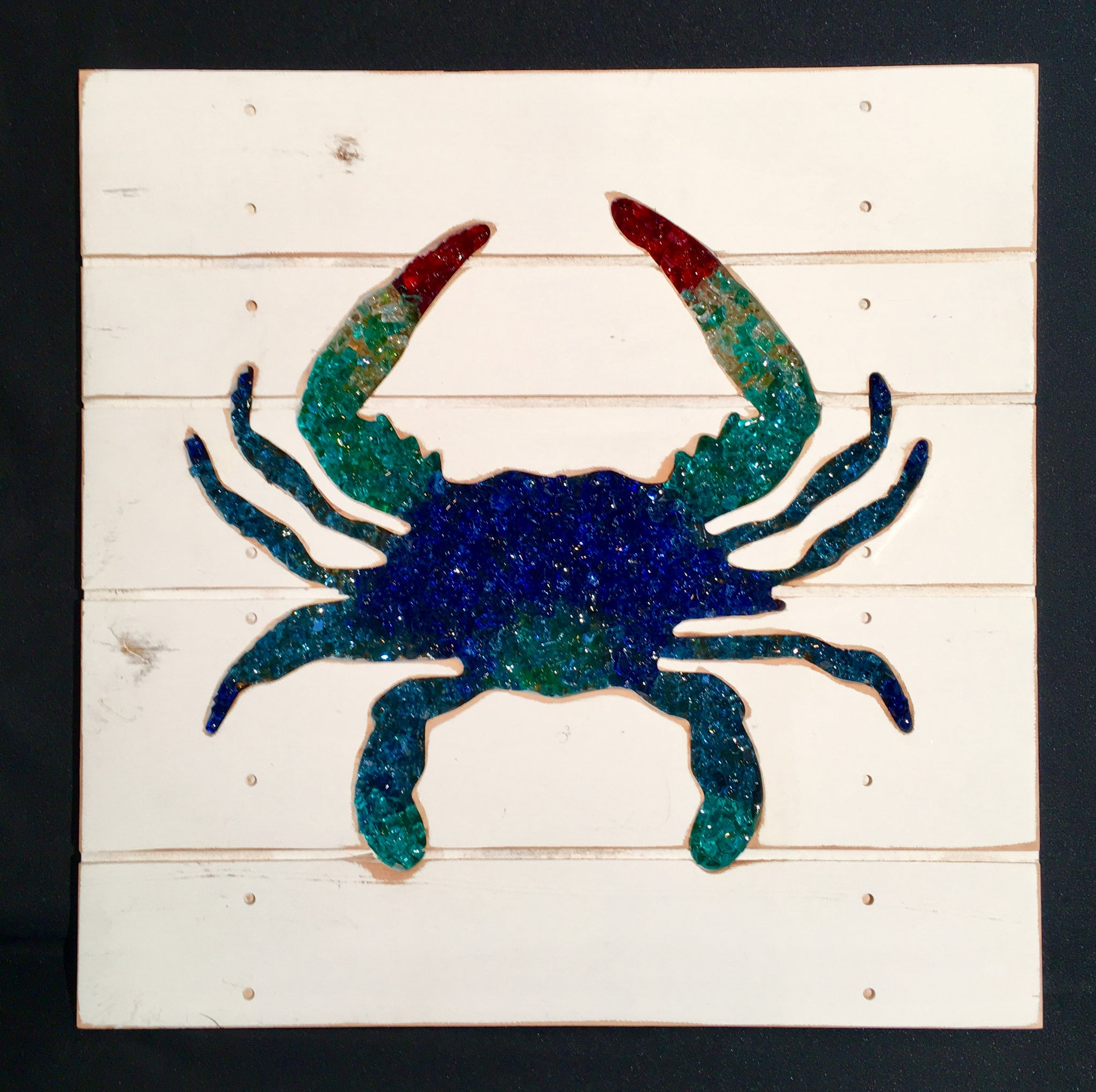 Crushed Glass Blue Crab Beach Wall Decor