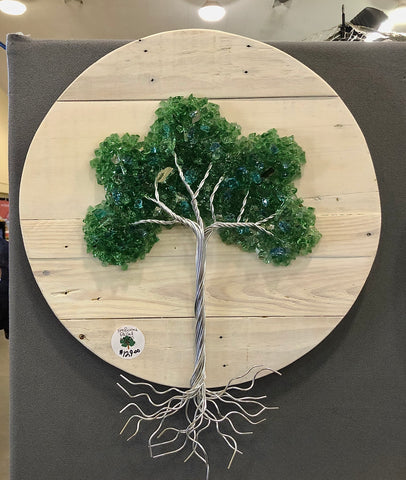 "20"" Round Pallet Wood, Glass Tree of Life Wall Art"