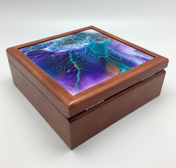 "7"" x 7"" Keepsake Jewelry Box in Walnut Finish"