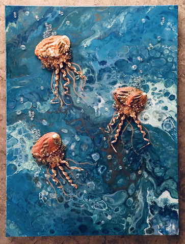 Acrylic Fluid Art, Shell Jelly Fish