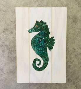 Green Tones Small Seahorse Cut Out