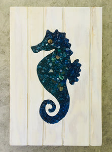 Blue Tones Small Seahorse Cut Out