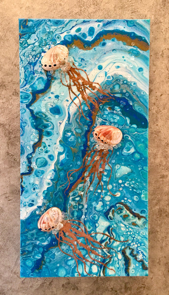 "Jellyfish 12"" x 24"" Gold Leafing Tentacles"