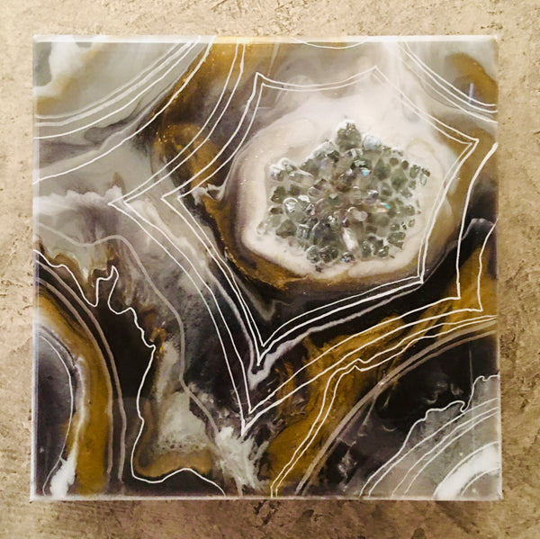 "Geode Art Gray Tones 8"" x 8"""