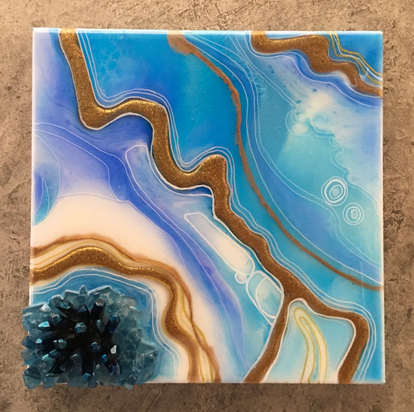 "Geode Art Blue Tones 10"" x 10"" With Blue Quartz Points"