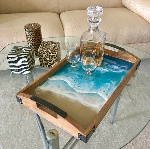 Beach Serving Tray with Metal Handles