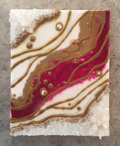 Geode Wood Panel Art Burgandy