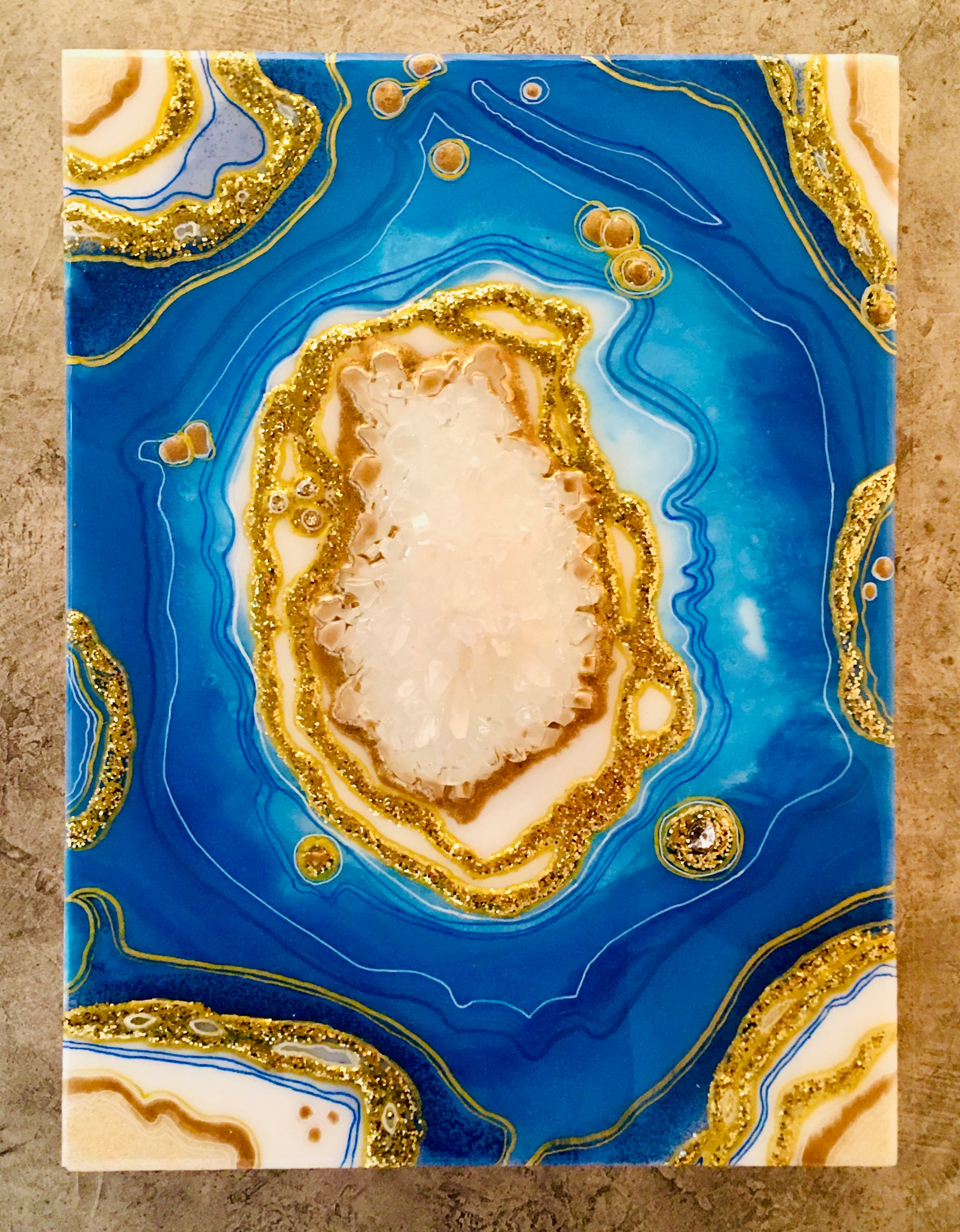 Geode Wood Panel Art Blue Tones