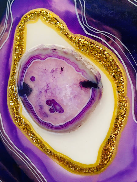 "Geode Artwork Purple Tones 10"" x 10"" With Authentic Agate Slice"