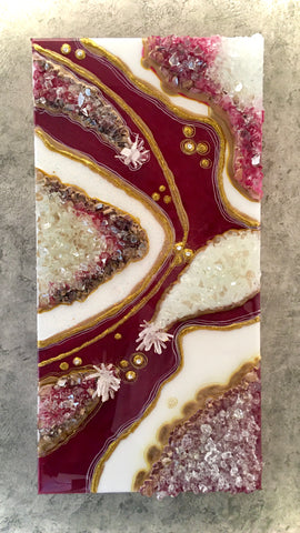 "Geode Art Burgandy 12"" x 24"" with Clear Quartz Crystals"
