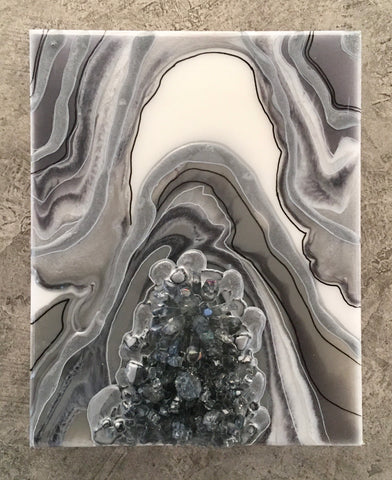 "Geode Art Gray 8"" x 10"" with Gray Quartz Crystals"