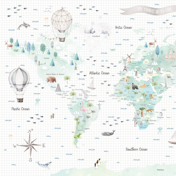 Watercolour Customisable World Map