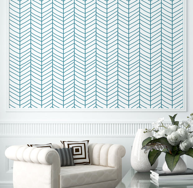 ocean Blue Herringbone