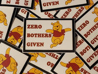 Pooh Zero Bothers Given Stickers