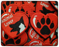 Dog Paw and Animal Lover Heart Patches