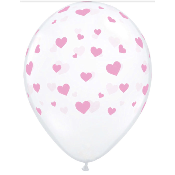 "11"" Clear Latex Pink Heart Print Balloons - Pack of 6"