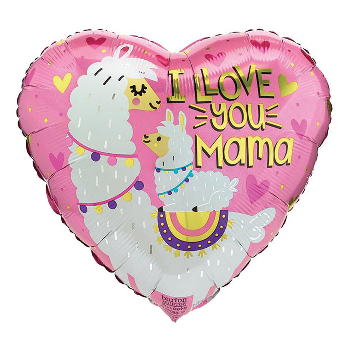 heart shaped mothers day balloon with a mama and baby llama. Balloon Says I Llove you Mama