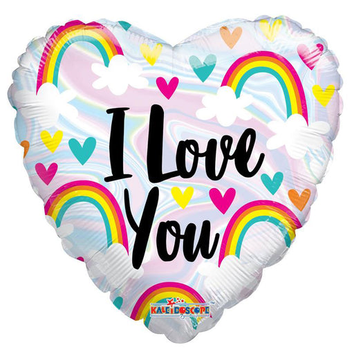 "18"" I Love You Rainbow & Hearts Holographic Foil Balloon"