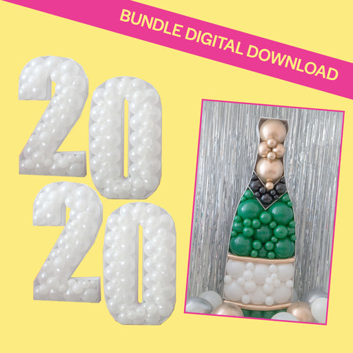 2020 & Champagne Bottle Bundle BALLOON MOSAIC digital design template
