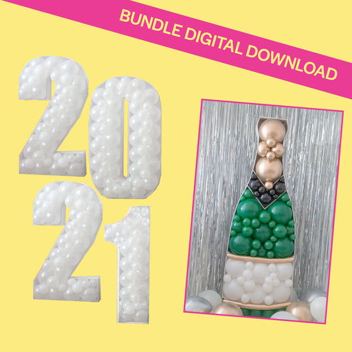 2021 & Champagne Bottle Bundle BALLOON MOSAIC digital design template