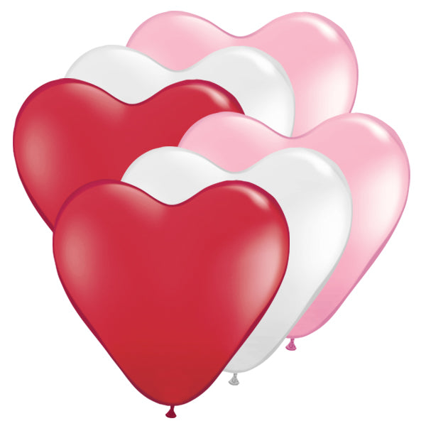 15 inch Heart Latex Balloons - Pack of 6