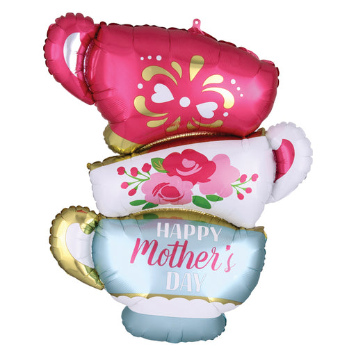 30 inch Happy Mother's Day Teacups shaped balloon.  Foil Mylar Balloon.