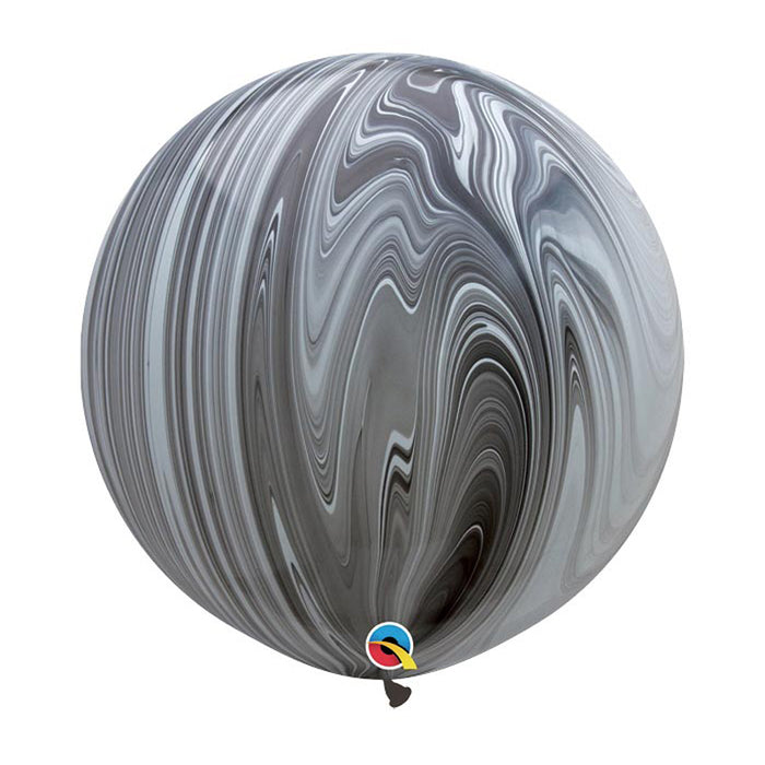 30 inch Marble Balloon - Black and White