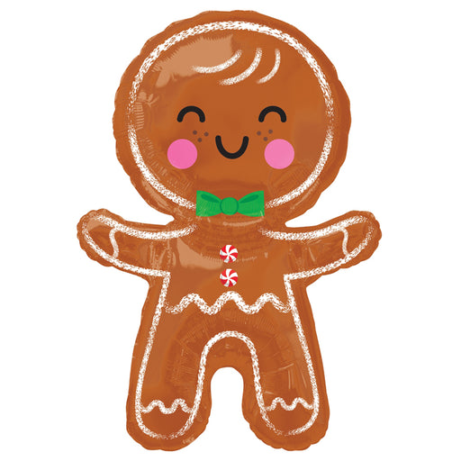 31 inch Happy Gingerbread Man Foil Balloon - Single Balloon