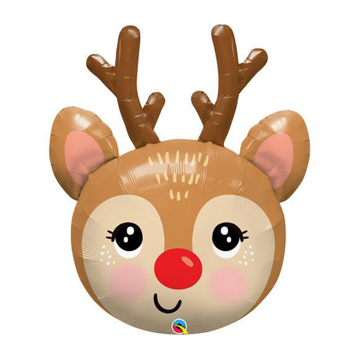 "35"" Red Nosed Reindeer foil balloon for Christmas party decorations"