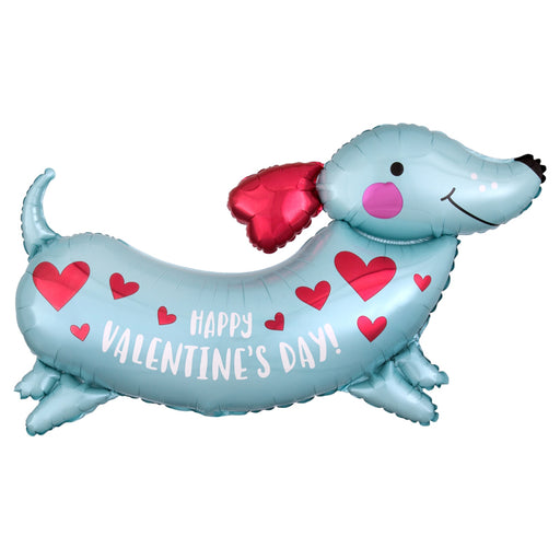 37 Inch Happy Valentine Blue Weiner Dog