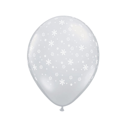 5 inch Snowflakes-A-Round Diamond Clear Latex Balloon - 10 Pack