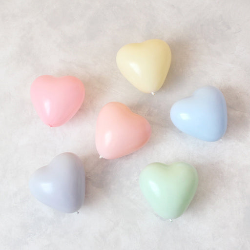6 inch pastel heart shaped latex balloons