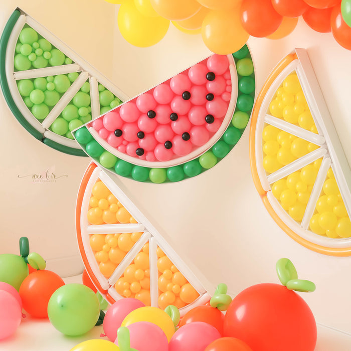 Citrus Slices and Watermelon BALLOON MOSAIC digital design template